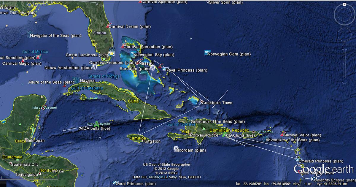 Track Cruise Ships GOOGLE EARTH ONLINE  Ship Cruises