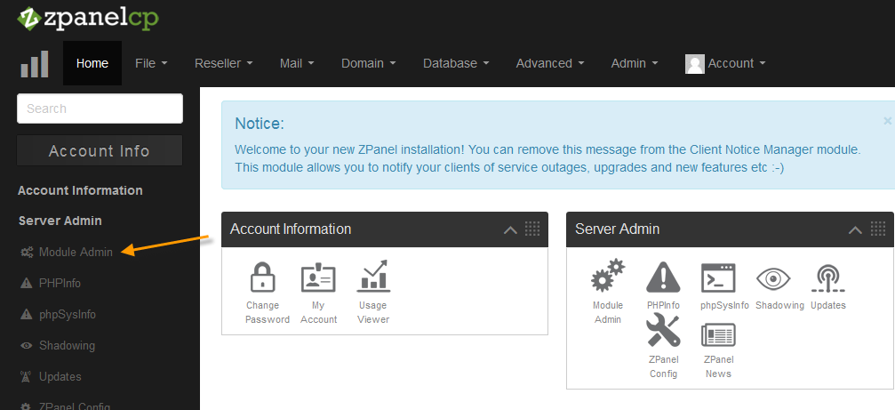 Server Admin > Module