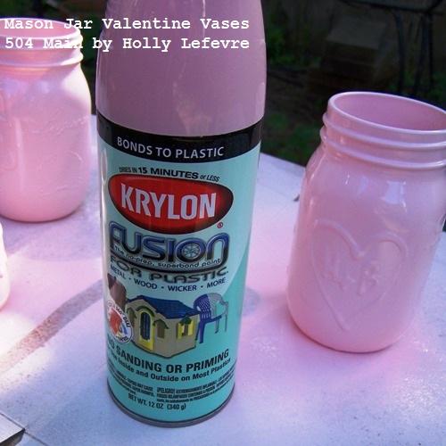 mason jar valentine vases 14 days of crafting love. Black Bedroom Furniture Sets. Home Design Ideas