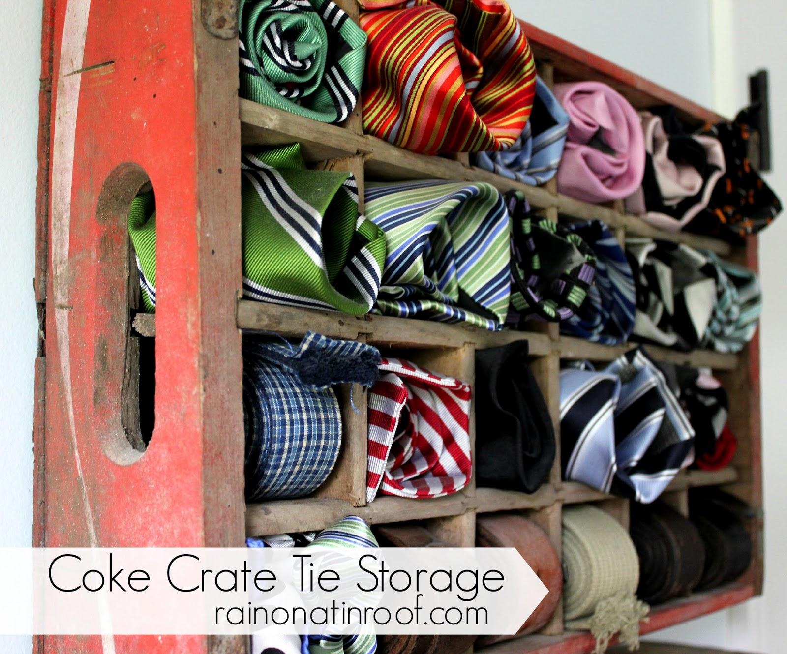 Coke Crate Tie Storage rainonatinroof.com #coke #crate #tie # & Coke Crate Tie Holder