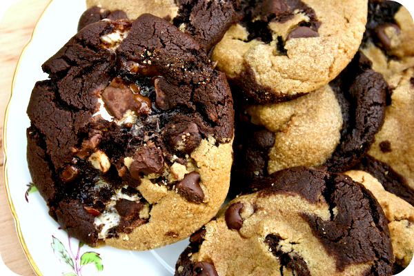 peanut butter chocolate chip cookies + double chocolate chip cookies ...