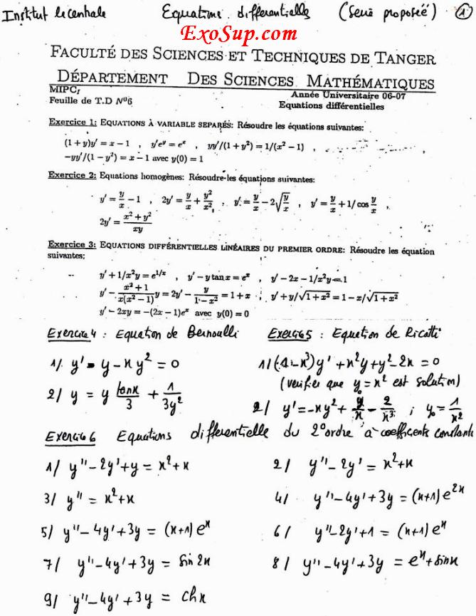 équations différentielles fst Tanger