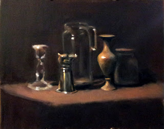 Oil painting of a glass vase, a boar's head cup, a glass water pitcher, a brass vase and a glass jar.