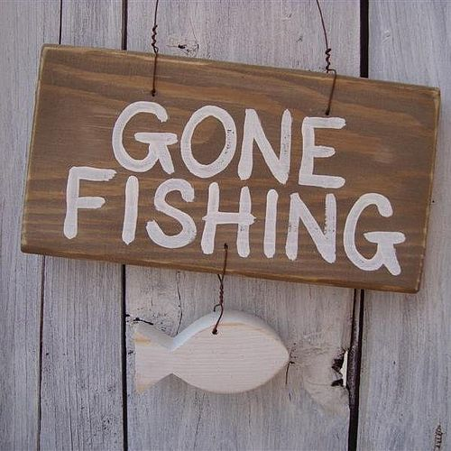 Saving the world in sensible shoes for Gone fishing sign
