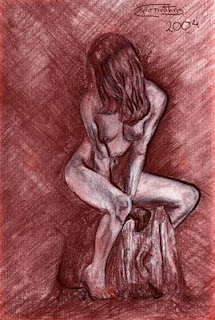 charcoal nude model by metris