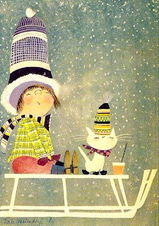 illustration by Fiep Westendorp of a girl and her cat on a sleigh in the snow