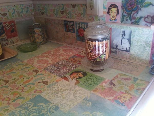 My Ugly Rental Decoupage Your Ugly Kitchen Counters Don