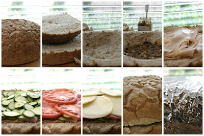 step by step collage of how to layer the sandwich