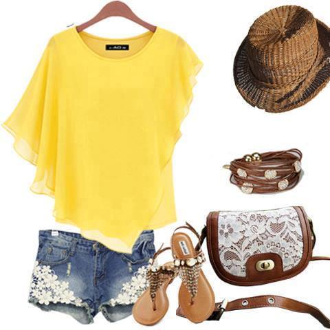 Yellow Top, Jeans Shorts, Sandals, Bag, Hat | Outfits