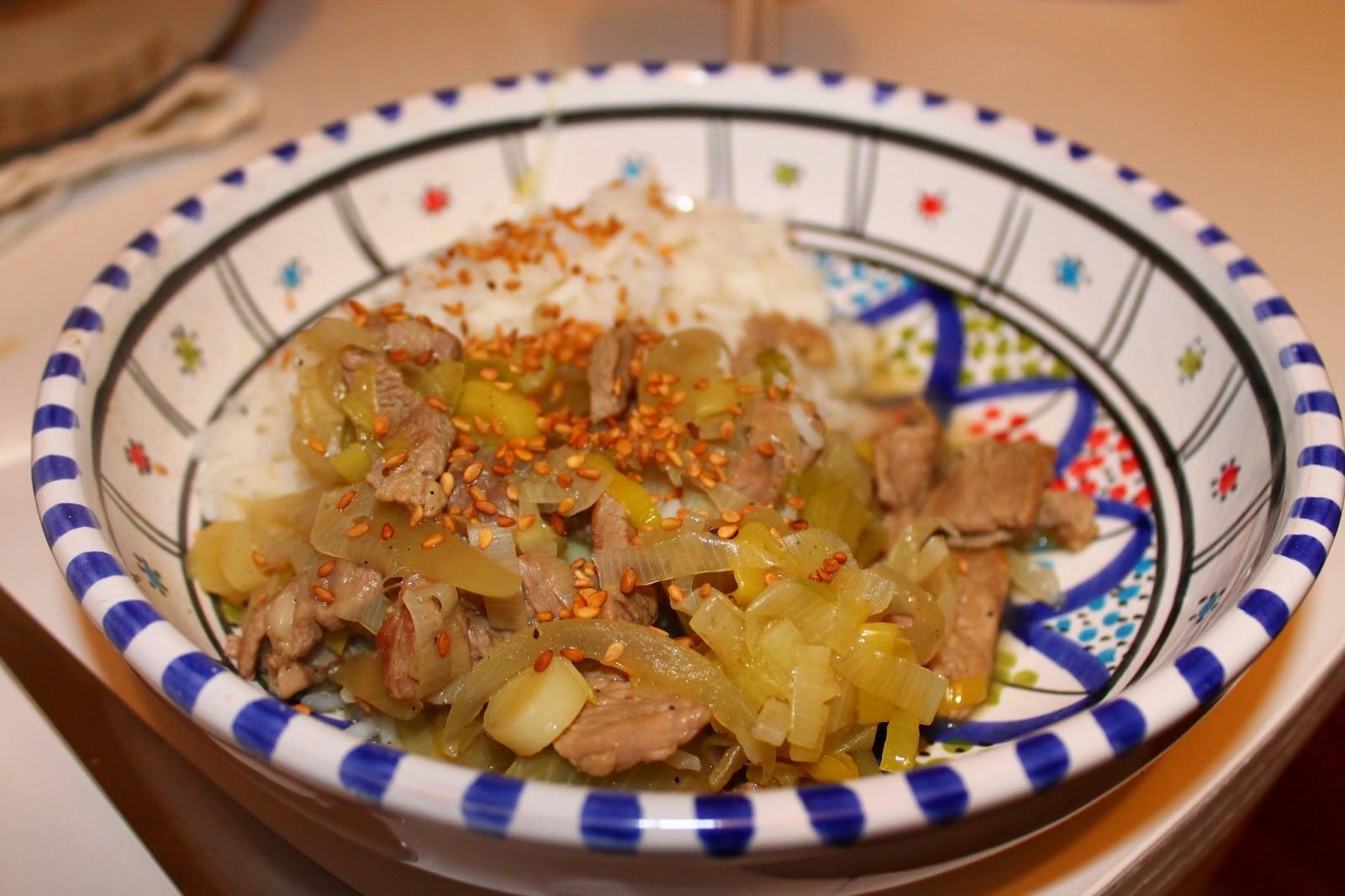 Émincé de porc aux poireaux