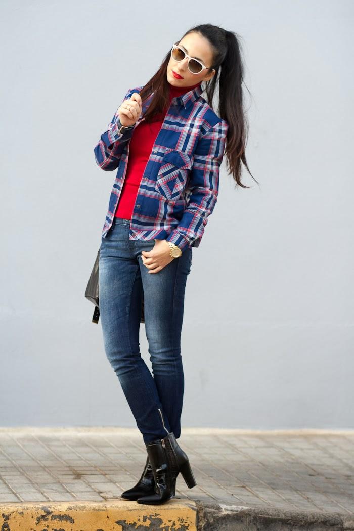 Outfit casual con camisa de cuadros y jeans de Diesel