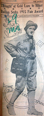 newspaper clipping photo of man with bag