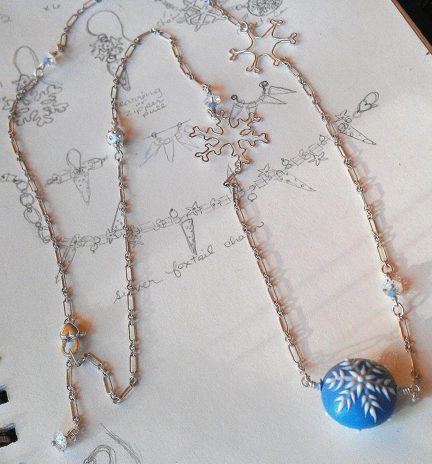 Snowflake porcelain bead sterling silver jewelry