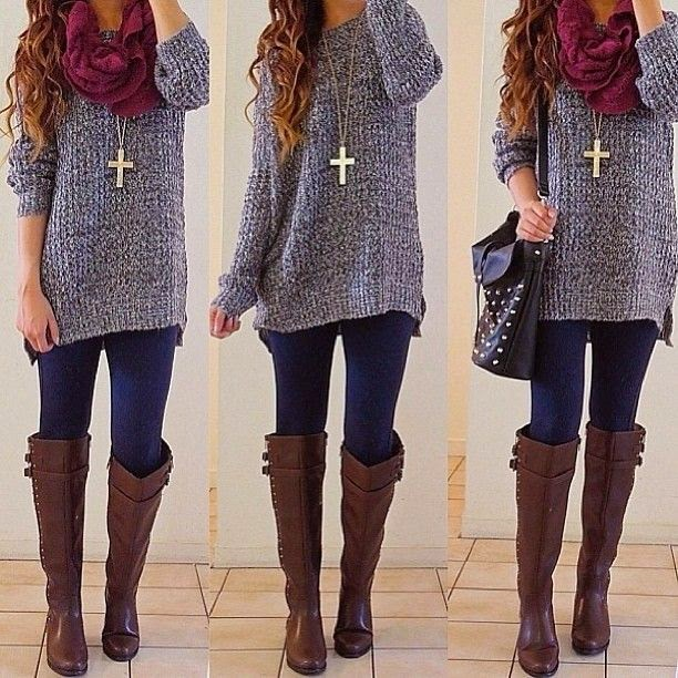 Grey sweater, with lovely leather, brown boots