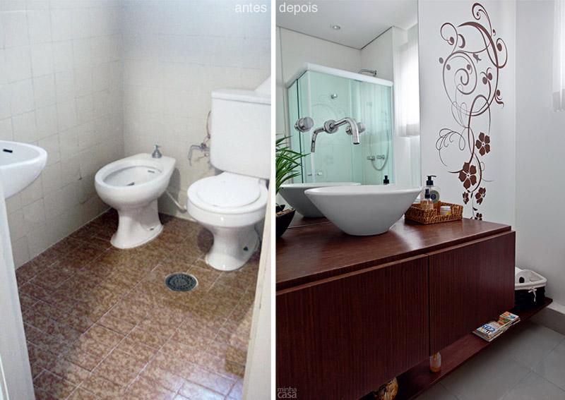 Bellart Atelier Antes e depois  banheiro social se transforma em lavabo em  # Gabinete De Banheiro Sob Medida