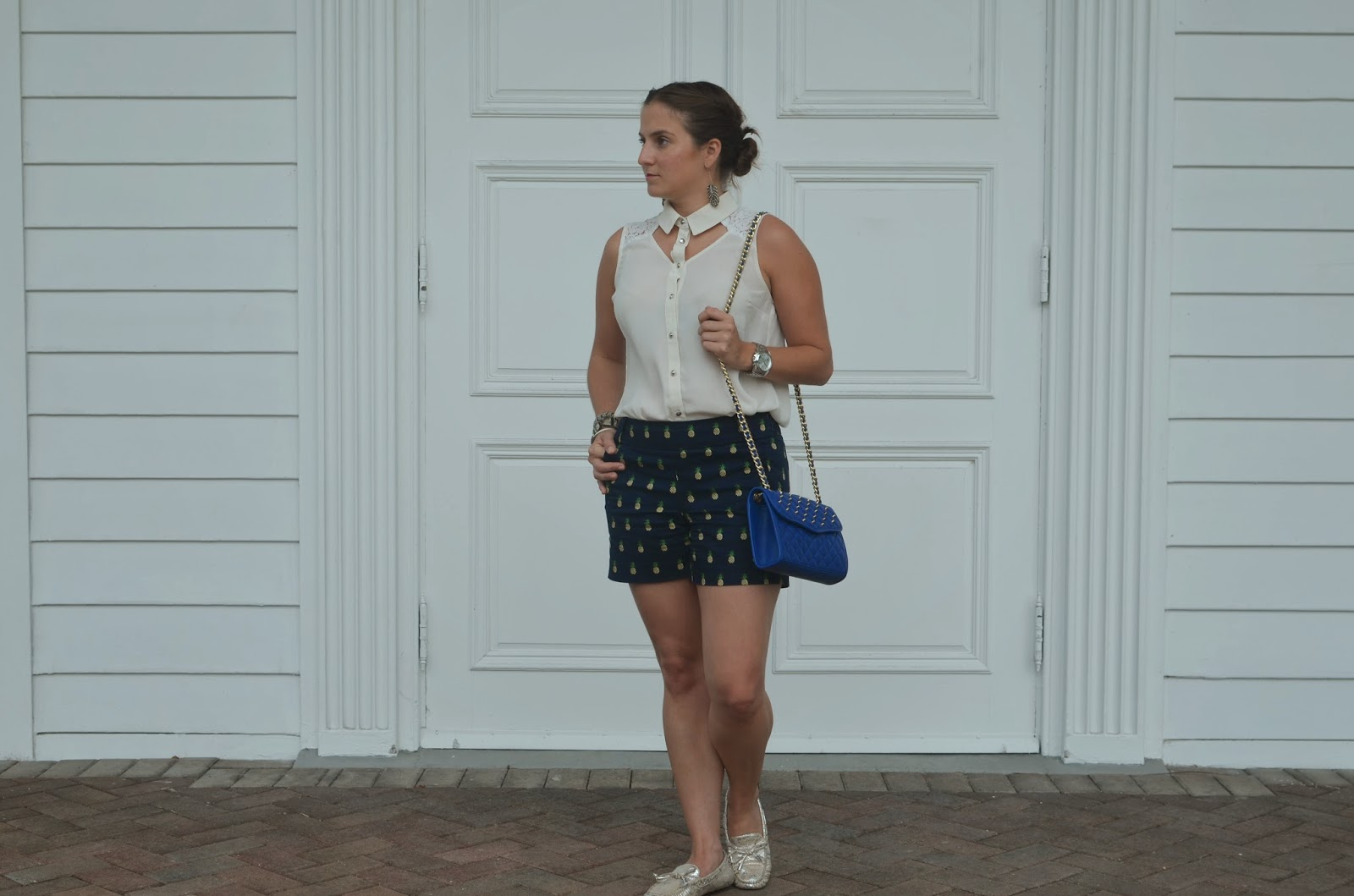 pineapple shorts - Emma & Sophia - Rebecca Minkoff bag