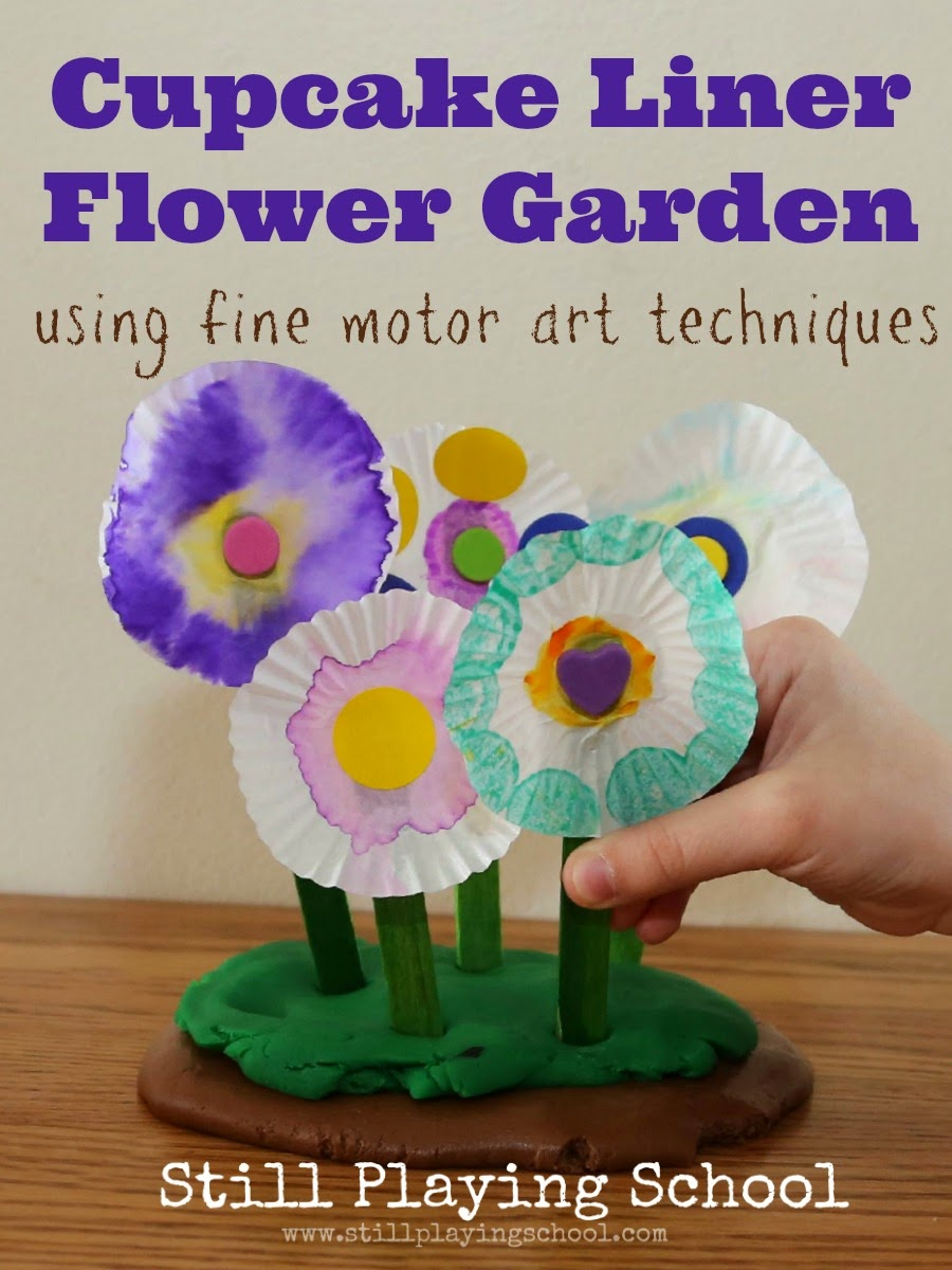 Garden Art Ideas For Kids cupcake liner flower craft: fine motor art for kids | still