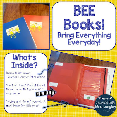 Keep kids organized with the BEE Book.  BEE Books, great way to keep papers and information organized!  Folder goes home and comes back to school everyday!