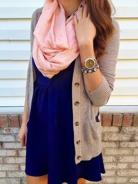 Pink Infinity Scarf navy dress tan cardi & Chiffon Dress.. love This outfit