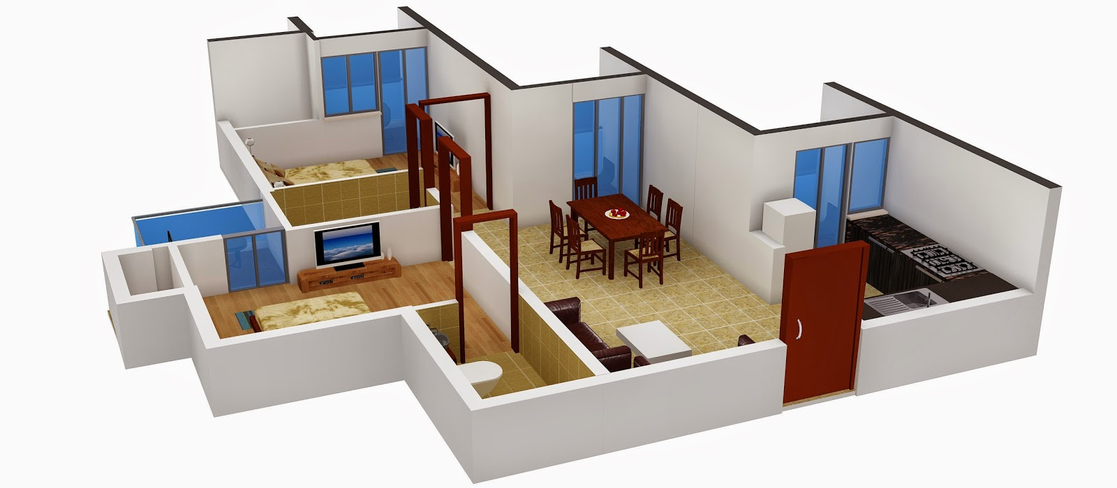 Interior design 2bhk flat for 1 bhk interior design cost