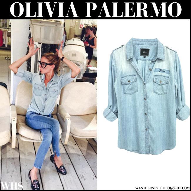Olivia Palermo in denim monogrammed Rails shirt Ibiza July 2015