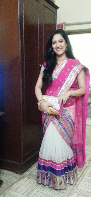 Converted lehenga with pink blouse and pink chunni