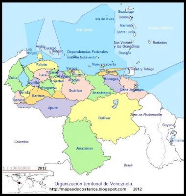 Mapa de la organización política de VENEZUELA, nombre de los estados