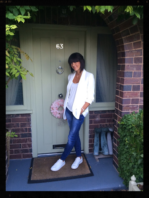 My Midlife Fashion, Zara, Mango, Leather white trainers, skinny distressed jeans, distressed denim, cream crepe tuxedo jacket