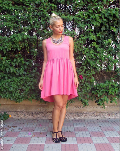 AsymmetricalDress+StatementNecklace+Flats+RedLips - Lilli  Candy and Style Fashion Blog