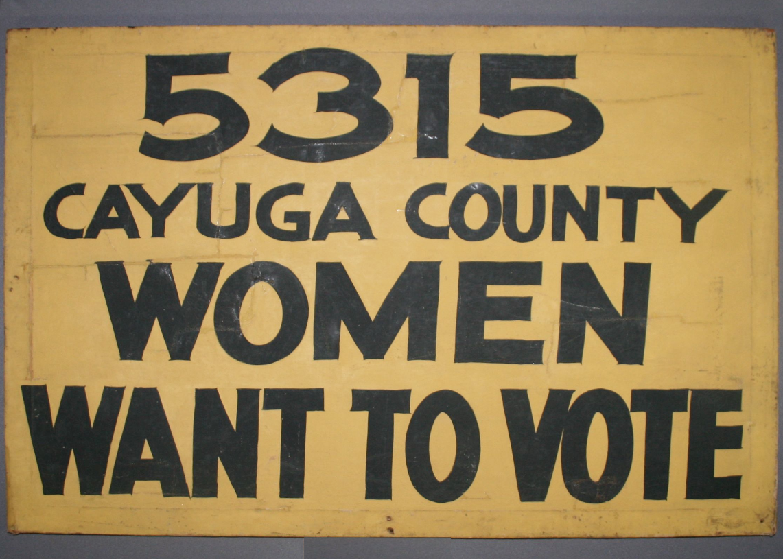 Women's Suffrage sign repaired, textile conservator, after treatment