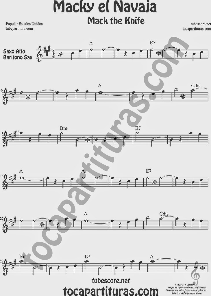 Macky el Navaja Partitura de Saxofón Alto y Sax Barítono Sheet Music for Alto and Baritone Saxophone Music Scores Mack the Knife Popular EEUU de Kurt Weill
