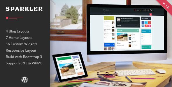 Free Download Sparkler V1.0 Responsive Wordpress Magazine Theme