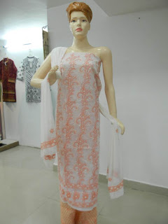 Lucknowi Chikan white pink Cotton Dress Material