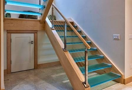 color glass,glass staircase, floating stairs