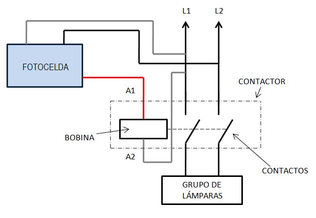 Conexión de fotocelda para control de contactor