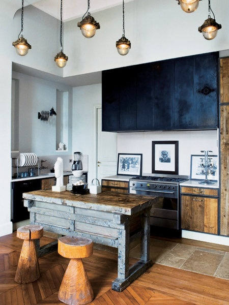 Good home construction creating a rustic industrial look for Industrial style kitchen