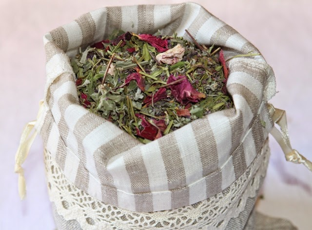 linen bags for presents and herbs, linen fabric