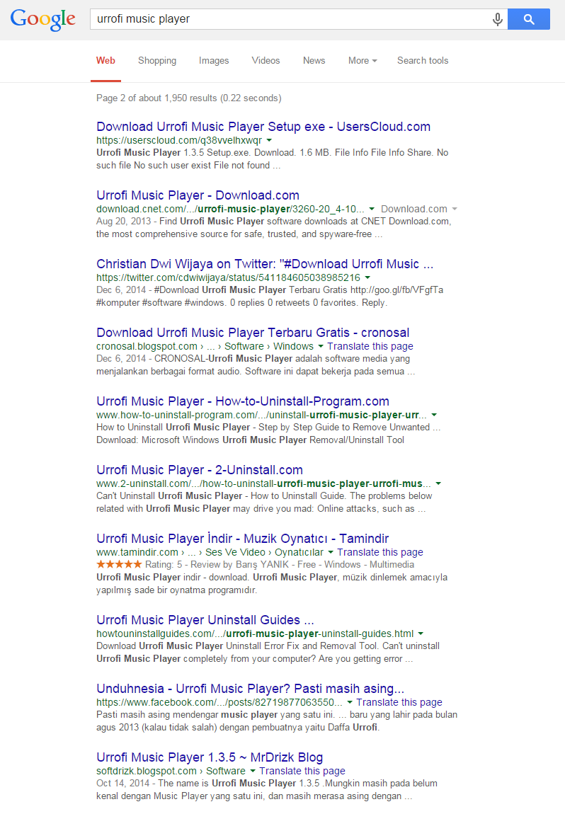 Search results on page two