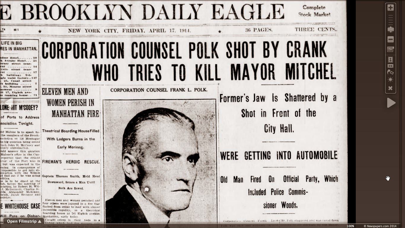 mcbrooklyn  nyc corporation counsel frank lyon polk was shot and seriously injured outside city hall by a brooklyn man who was aiming for nyc or john mitchel