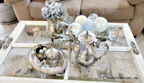 Silver and blue Christmas Vintage Vignette at One More Time Events.com