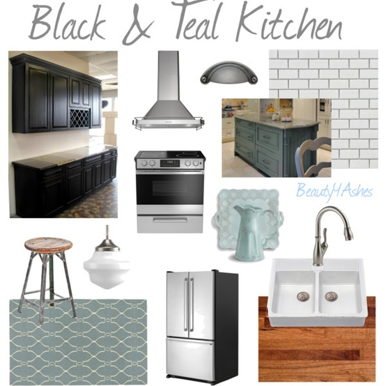 Dark Teal Kitchen Cabinets: Beauty 4 Ashes: Black & Teal Kitchen {31 Days Of Moodboards}