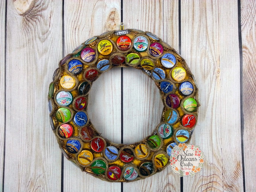 new orleans crafts by design leinenkugel bottle cap wreath