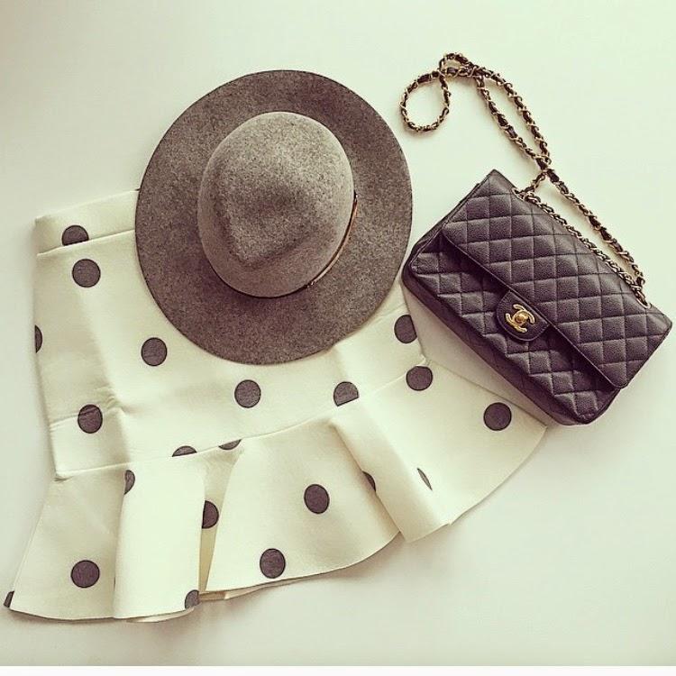Polka dots, shopjoa, janessa leone, chanel classic flap bag, victoria hat