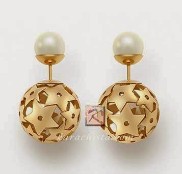 Mise en Dior Tribal earrings - pearl and gold stars