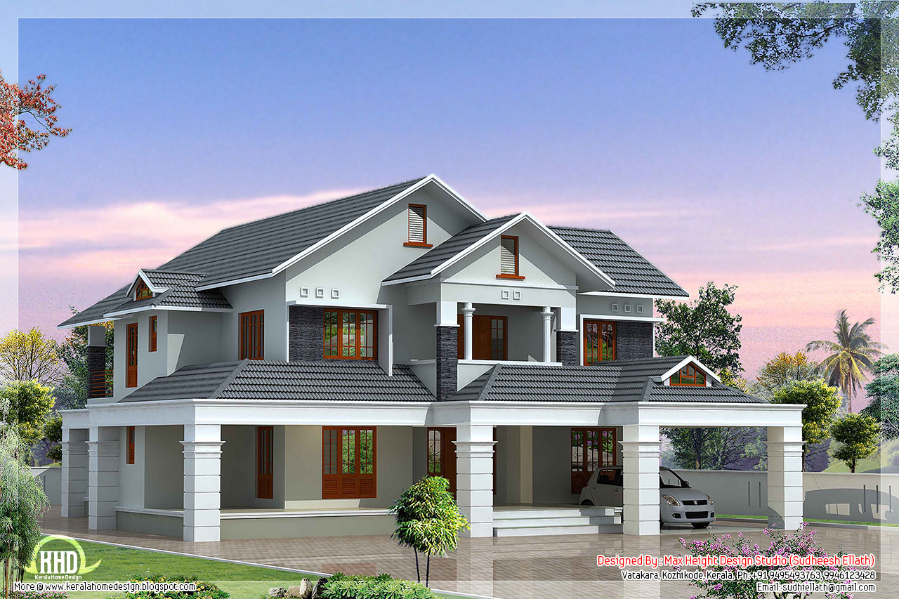 Luxury 5 bedroom villa kerala house design idea for Small two floor house