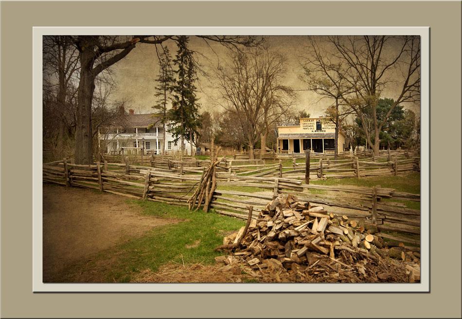 View of Halfway House Inn, Laskay Emporium at Black Creek Pioneer Village.