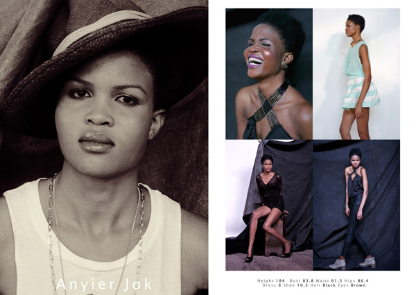 Comp card from Anyier Jok modelling portfolio shoot.