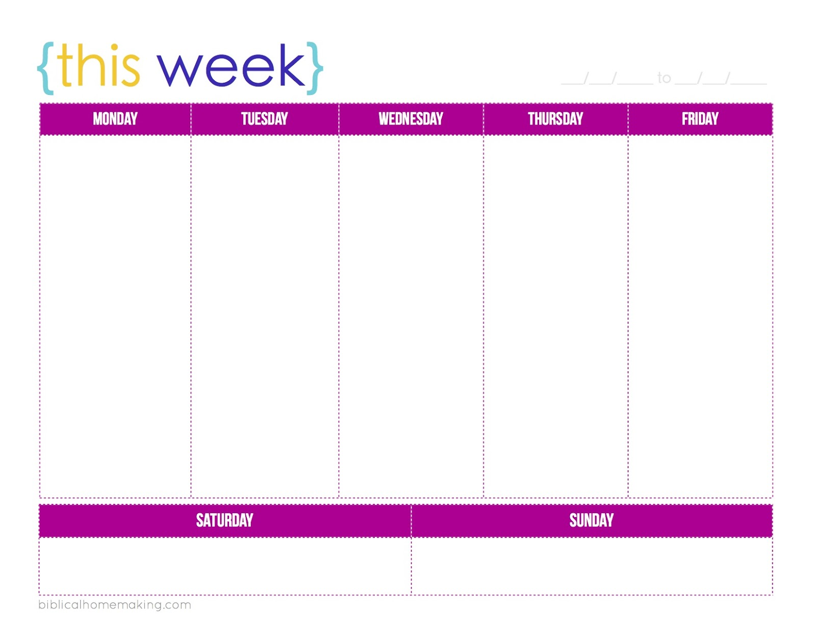 Biblical Homemaking this week a free weekly planner printable – Free Printable Weekly Planner