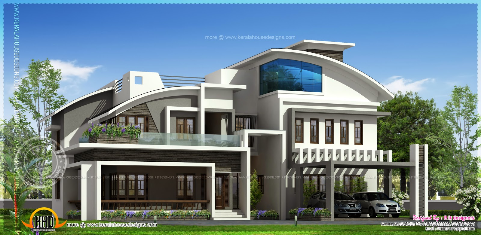 Contemporary luxury house elevation in 4280 square feet for Contemporary indian house elevations