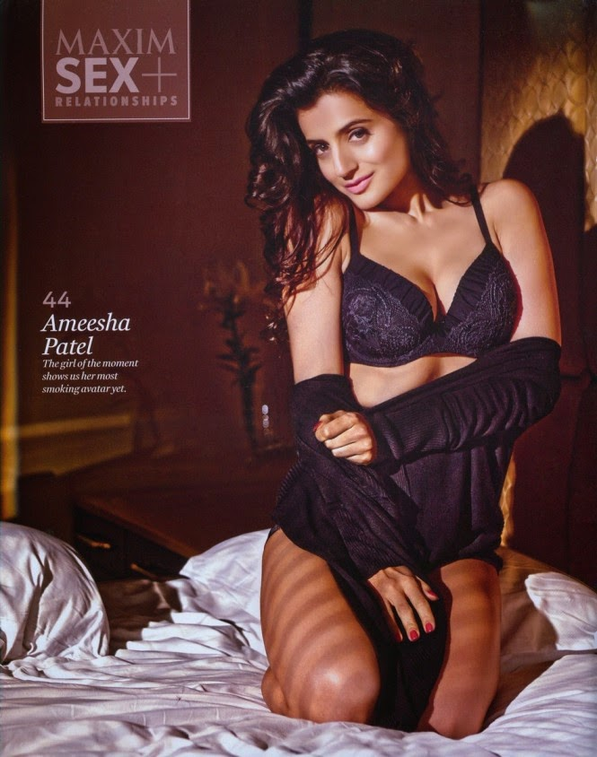hot-sexy-ameesha-patel-in-black-lingerie-in-maxim